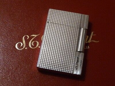 S T Dupont Gatsby Lighter -  Silver Plated with Diamond Point Design