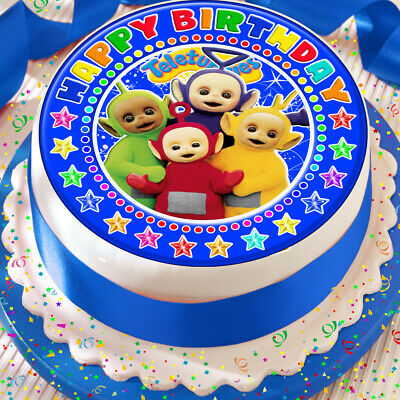 Teletubbies Blue Personalised PRECUT 7.5 INCH Cake Topper Edible Decoration Icing Sheet