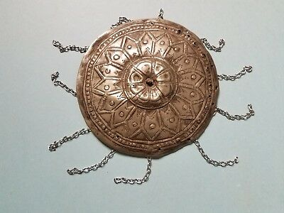 Antique Turkish tepelik: embossed metal hat-cover with 11 small dangling chains