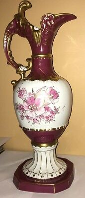Large Royal Dux bohemia Vase- Magenta and White flowers