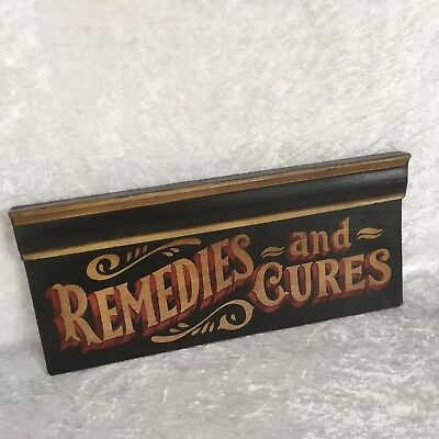 Remedy And Cure Wooden Sign Pharmacy Chemist Signwritten