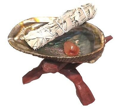 Abalone Shell Smudge Kit: Wooden Tripod White Sage Stick Carnelian Tumbled Stone