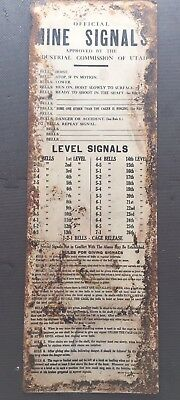 State of Utah Bureau of Mines Hoist Bell Signals Tin Sign ca. 1930's