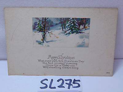VINTAGE 1900's POSTCARD CHRISTMAS SCENE-TREE-SNOW-HILLSIDE-MADE IN USA