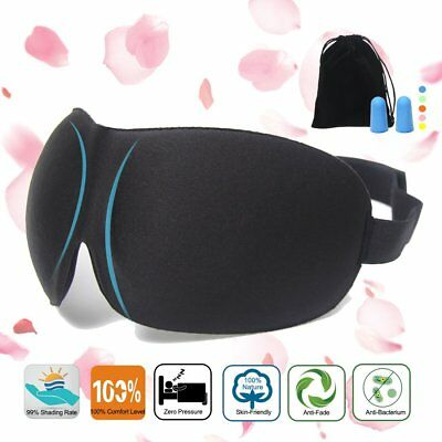 3D Eye Comfort Sleep Mask with Ear Plugs Travel Case Eyeshades Sleeping Black