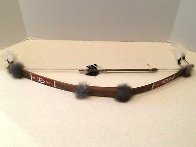 """Native American Style Bow & Arrow, Hand-Crafted Wood/Hide/Bone/Feather 26"""""""
