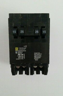 Square D Homeline Homt1515225 Circuit Breaker 15 25 Amp 1&2 Pole 120/240Vac Quad