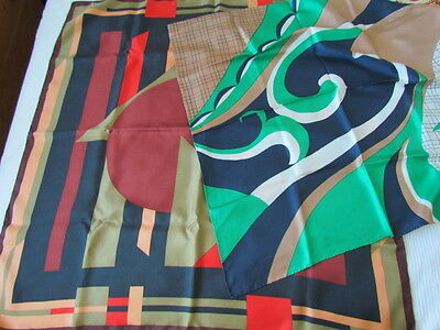 I Santi Heavy Silk Twill Lot Geometric Abstract retro Red Black Rust green Brown