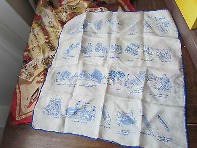 Scarf Silk Vintage Printed Art Work Ancient China Scenes People Costume Lot