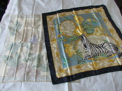 Heavy Silk Scarf Lot Salvatore Ferragamo Animal Print Zebra Vintage Retro New