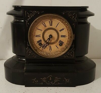 Antique 19C Ansonia Iron Mantle Clock PARIS FRANCE EXPO 1878 Cast Iron