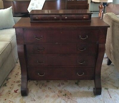 Antique Empire Flame Mahogany Chest of Drawers Dresser 1800's C Scroll Feet