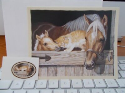 HORSES NOTE CARD  (Medley In Gold) - Artwork by Persis Llayton Weirs - Brand New