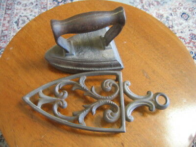 Antique Wrought Iron Small Flat Iron On Ornate Trivet