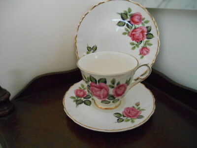 VINTAGE STAFFORDSHIRE CUP-SAUCER-PLATE -PINK ROSES all GOLD EDGED- P/C
