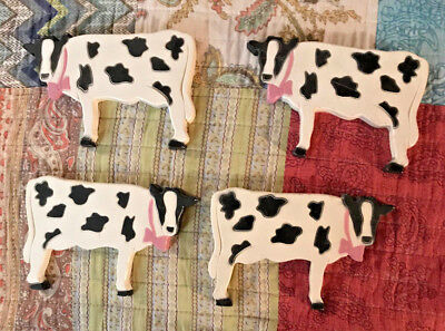 Neat Cow Wall Plaques-Decorative Farm Dairy Hangings- Usa- Set Of 4
