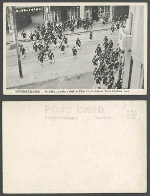 China Battle of Shanghai 1932 Old Postcard North Szechuan Road, Soldiers Schools