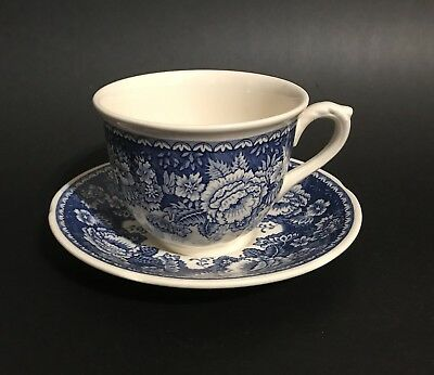 MASONS Blue and White Ironstone Crabtree & Evelyn Teacup Saucer Set
