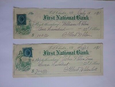 1881 US First National Bank cheque x 2