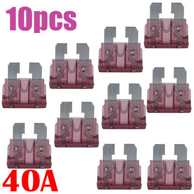 10pcs  Auto Car Truck Boat 40A Color Coded Standard Blade Fuse Assorted