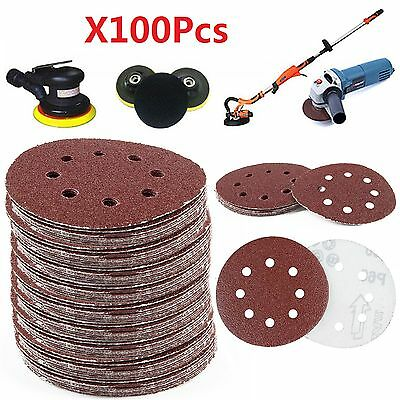"100 X 125mm - 5"" Sanding Discs 40 60 80 120 240 Mixed Grit Orbital Sander 8 Hole"