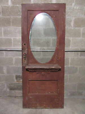 ~ Antique Carved Oak Door Oval Glass ~ 33.5 X 81.5 ~ Architectural Salvage ~