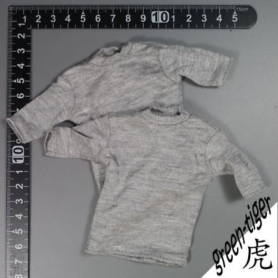 A338 :6 Scale ace Military action figure parts Grey Tee shirt  x 2