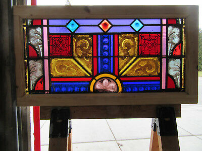 Antique Stained Glass Transom Window Painted Kiln Fired ~ 38 X 20 ~ Salvage