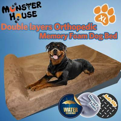 18Cm Gel Infused Memory Foam Orthopedic Dog Bed Big Headrest Xl Size