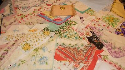 Vintage lot of handkerchiefs 50 in all with handkerchief bag floral lace sweet
