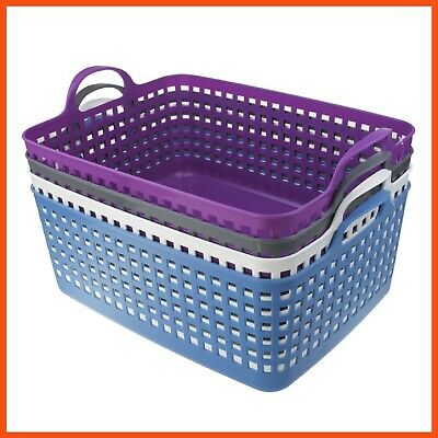 12 x EXTRA LARGE Woven Plastic Storage Basket with Handles Bins Tubs Tub Drawers