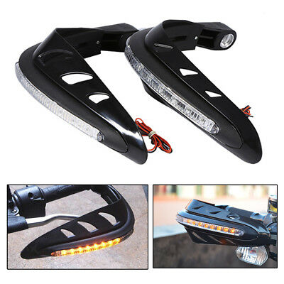 pair Motorcycle Handlebar Mounting Hand Guard Wind Protector LED Indicator Light