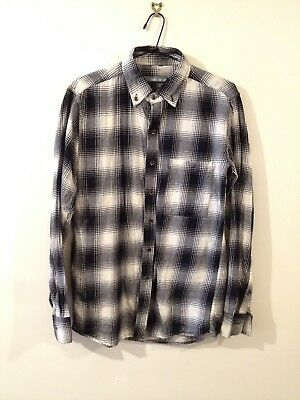 Men's Unisex Turk and Taylor Black and White Checkered Flannel Shirt Size S