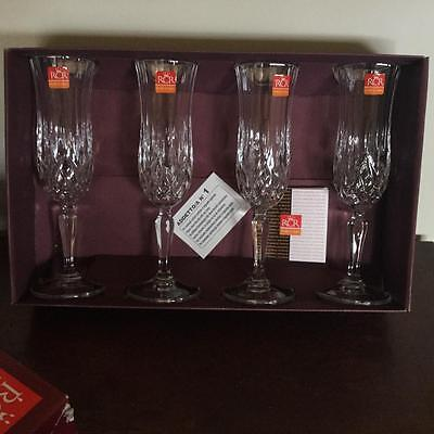 Rcr Italian Crystal Set 4 Champagne Flutes Glasses 'opera Design'new
