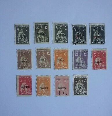 Portugal Azores 1922 - 1925 stamps M & U overprinted Acores