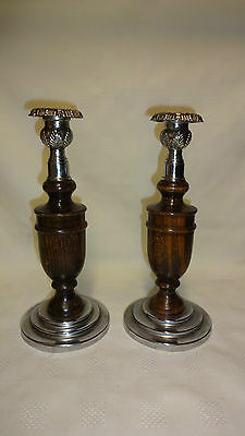 Attractive Pair Of Vintage 1930's Oak & Chrome Candlesticks