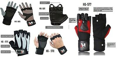 Body Building Gym Fitness Leather Crossfit Power Workout Weight Lifting Gloves