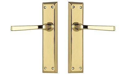 DOOR LEVER-MENTON-POLISHED SOLID BRASS-ART DECO/CONTEMPORARY STYLE-metro-forged