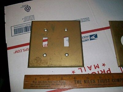 """vintage 4.5"""" GE heavy brass double switch plate cover  made in the USA ( 1 of 2)"""