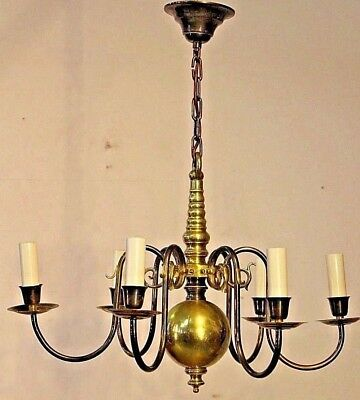 Big antique provincial brass chandelier with 6 arms Dutch or French style light