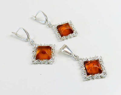 Amazing Genuine BALTIC AMBER 925 Sterling SILVER Earrings & Pendant SET