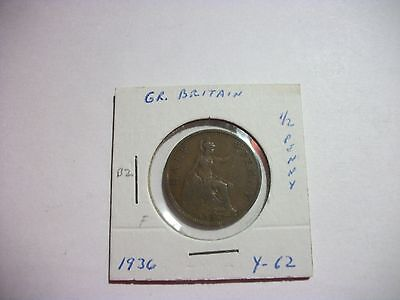 Great Britain 1936 1/2 Penny Bronze foreign coin