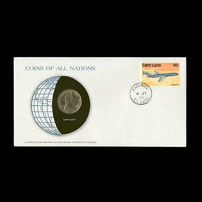 Saint Lucia 1 Dollar 1981 Fdc Pnc Coins Of All Nations Uncirculated Stamp Cover