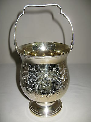 Hand Chase Eales 1779  Silver Plate Berry Basket Bucket Swing Handle 1960