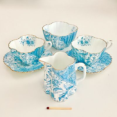 Wileman Tea for Two set demitasse, turquoise Dolly Varden on Alexandra, 1887