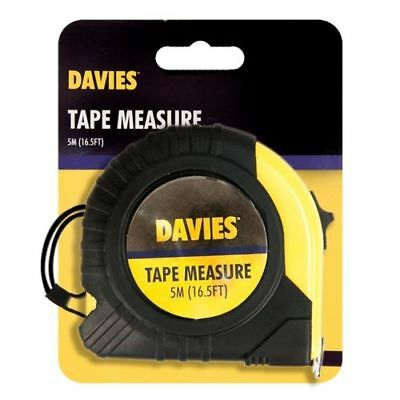 Davies 5m/16.5ft Measure Tape Metric Lockable +Belt Clip Rubber Case Pocket tape