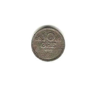 1942 NORWAY ZINC Coin 10 ORE - GERMAN OCCUPATION -  WWII