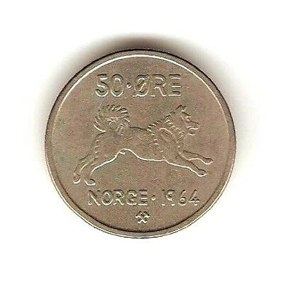 1964 NORWAY Coin 50 ORE - DOG