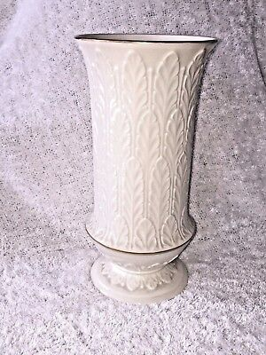 Lenox Vase Autumn Leaves Ivory With 24k Gold Trim Excellent Made