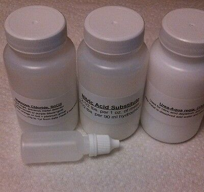 Aqua regia gold refining supply kit, refine gold. 1/2 lb w/ instruction. Limited